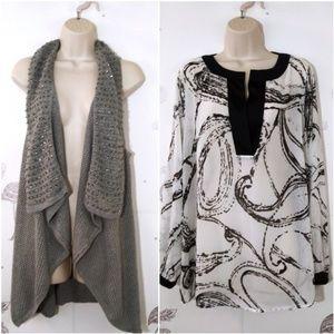 Lane Bryant  Size 14 Lot Semi Sheer Blouse & Vest